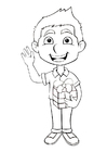 Coloring pages boy with present