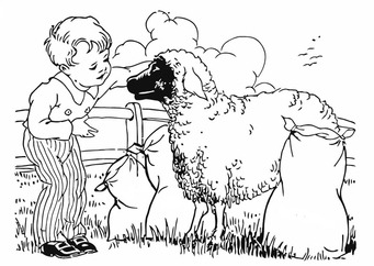 Coloring page boy with sheep