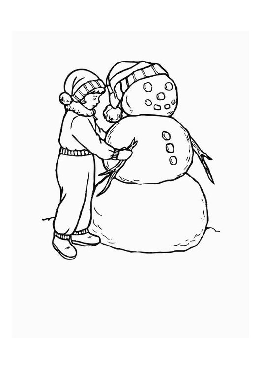 Coloring page boy with snow doll