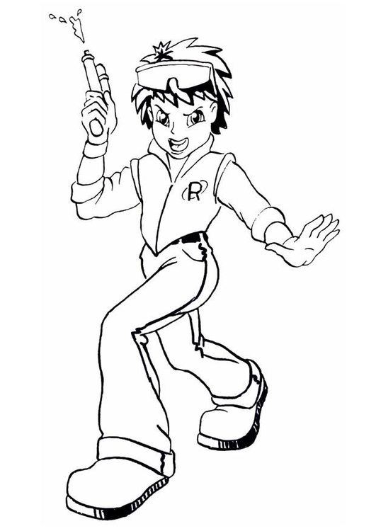 Coloring page boy with squirt gun