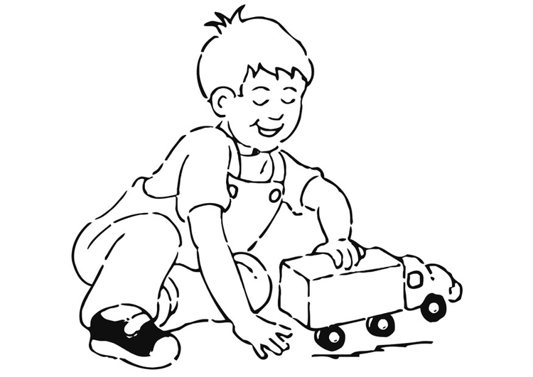 Coloring page boy with toy car