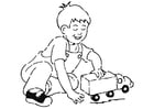 Coloring pages boy with toy car