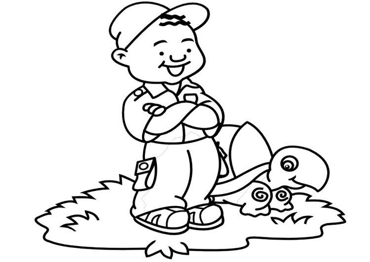 Coloring page boy with turtle