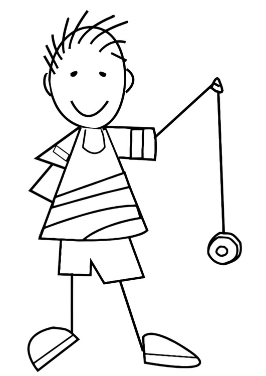 Coloring page boy with yo-yo