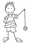 Coloring pages boy with yo-yo