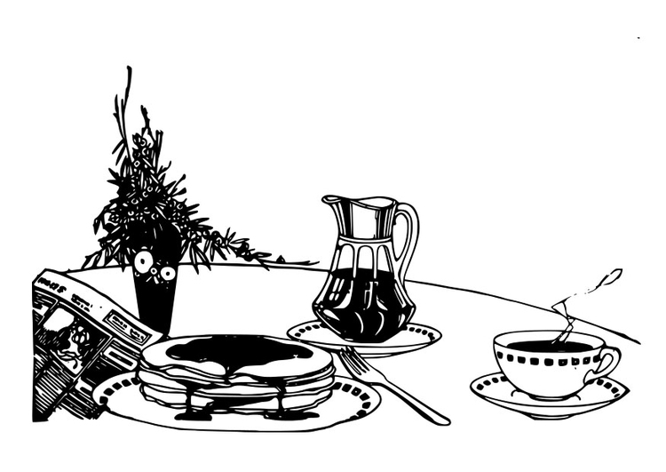 Coloring page breakfast