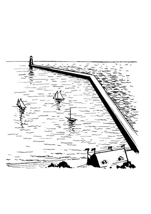 Coloring page breakwater