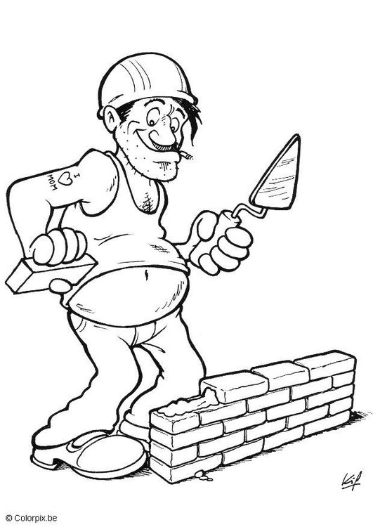 Coloring page bricklayer
