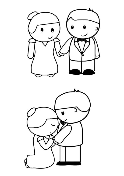 Coloring page bride and groom