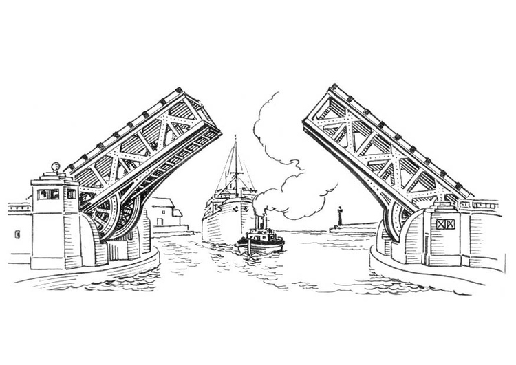 Coloring page bridge - drawbridge
