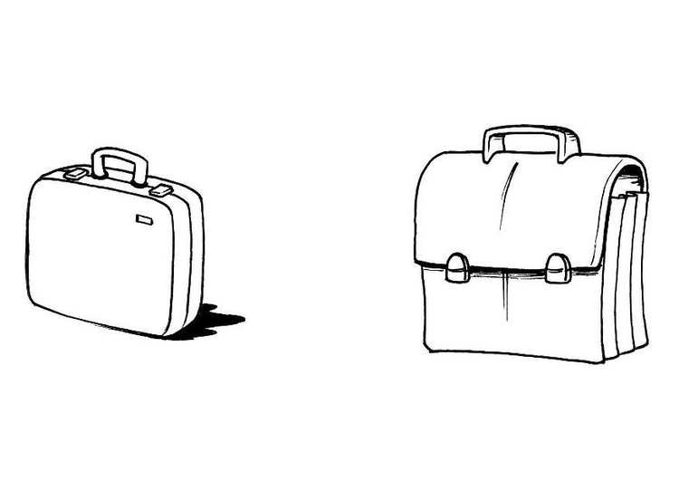 Coloring page briefcase and satchel
