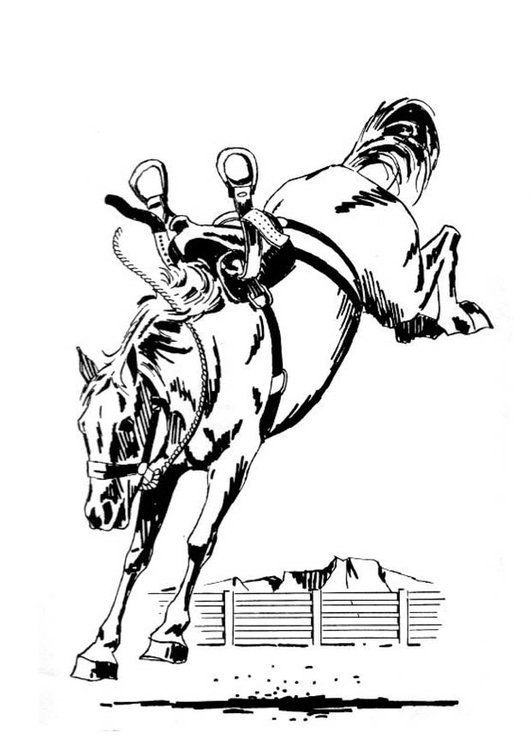 Coloring page bucking horse