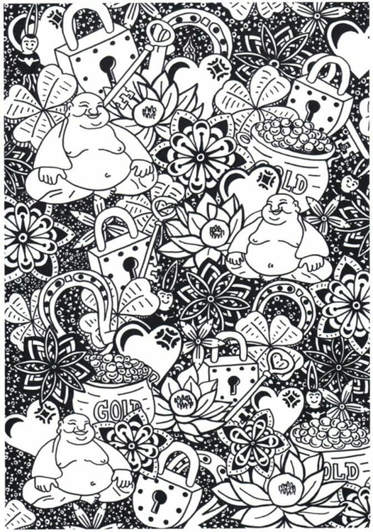 Coloring page buddha brings prosperity