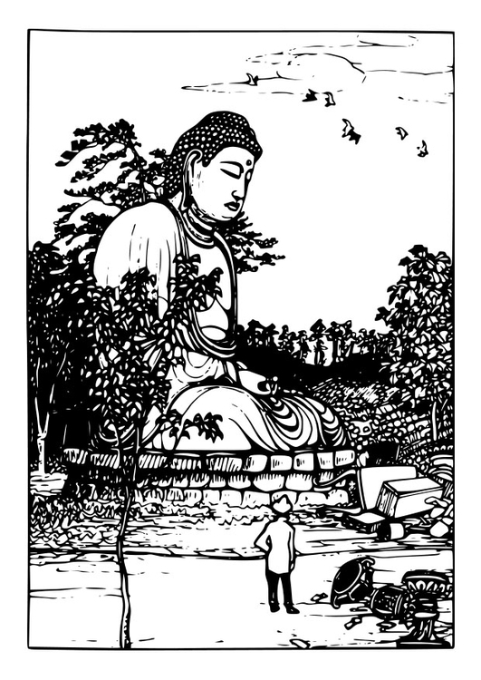 Coloring page Buddha statue