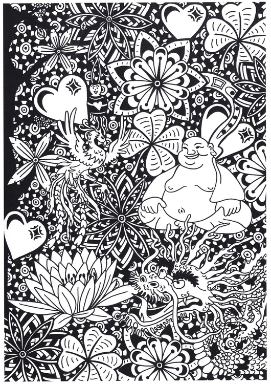 Coloring page buddha with dragon