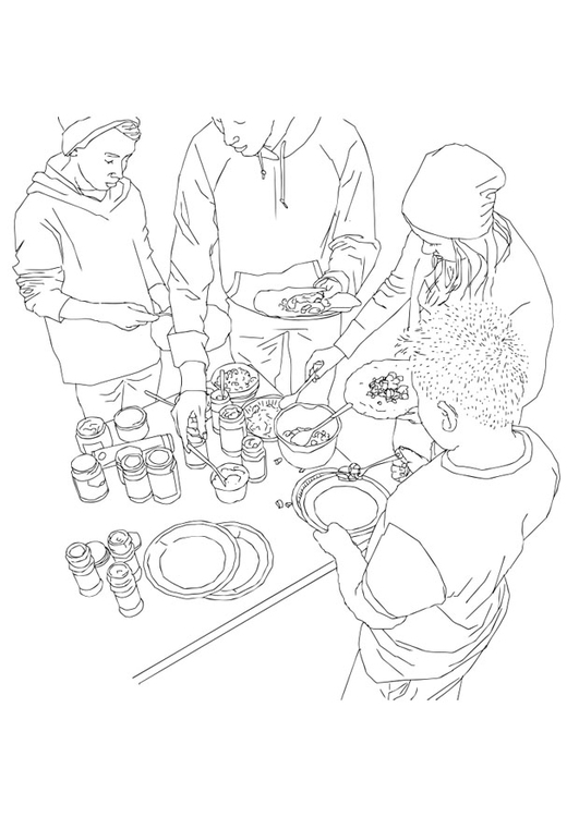 Coloring page buffet