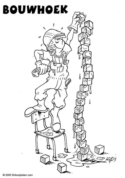 Coloring page building corner
