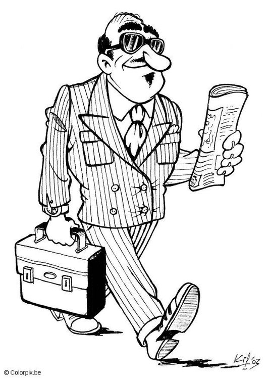 Coloring page businessman