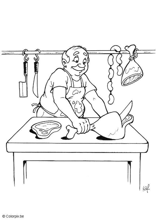 Coloring page butcher