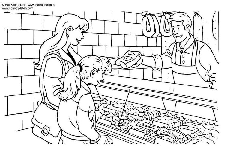 Coloring page butcher´s shop