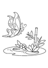 Coloring page butterfly above water
