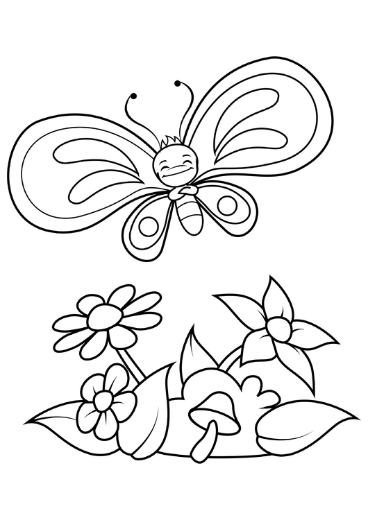 Coloring page butterfly enjoys
