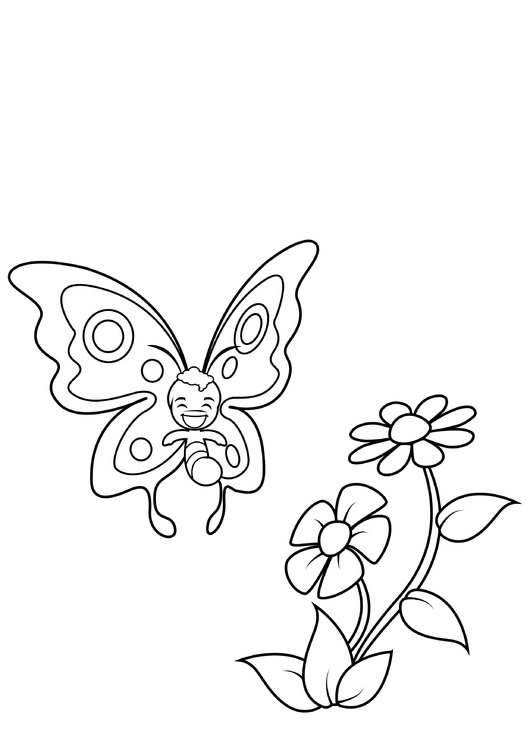 Coloring page butterfly is smiling