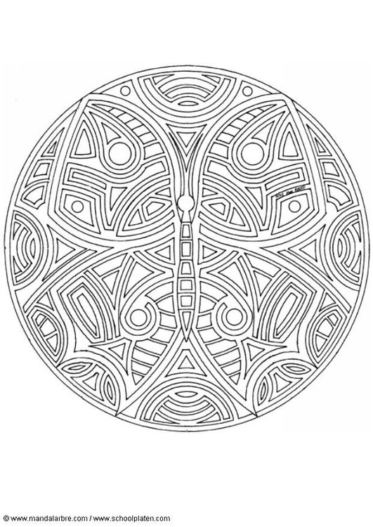 Coloring page butterfly mandala