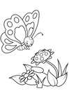 Coloring page butterfly with flowers