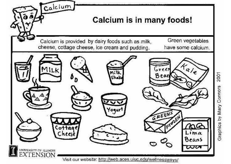 Coloring page calcium food