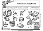 Coloring pages calcium food