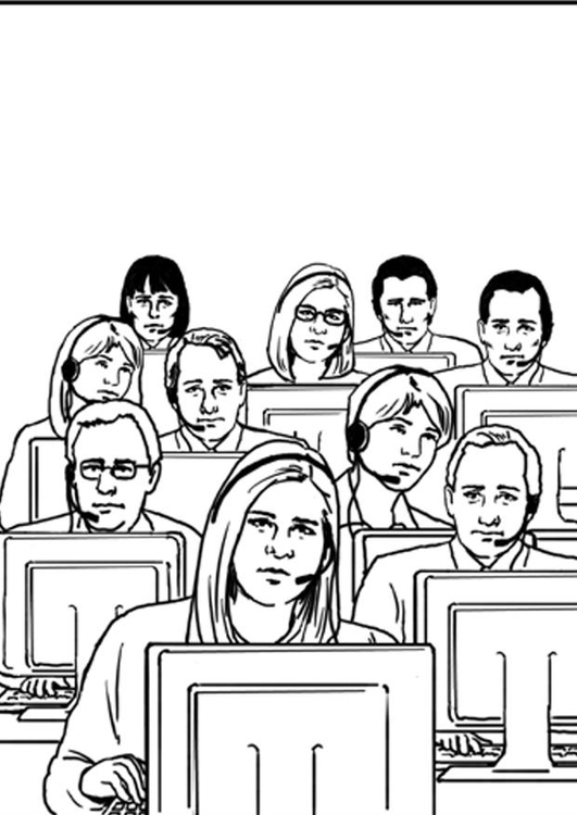Coloring page call center