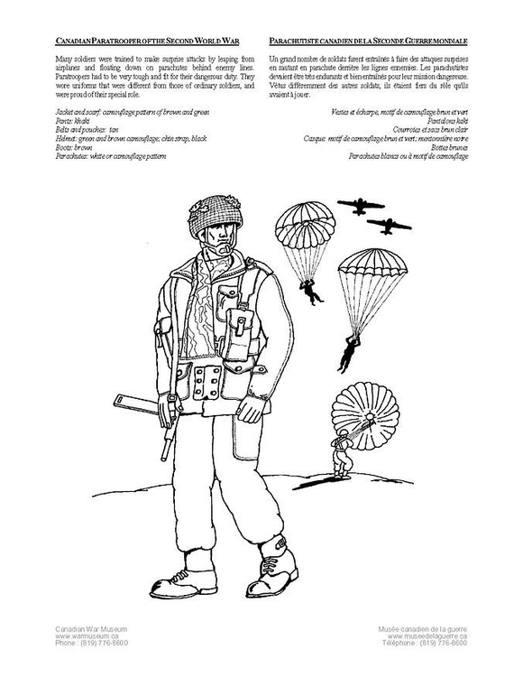 Coloring page canadian paratrooper