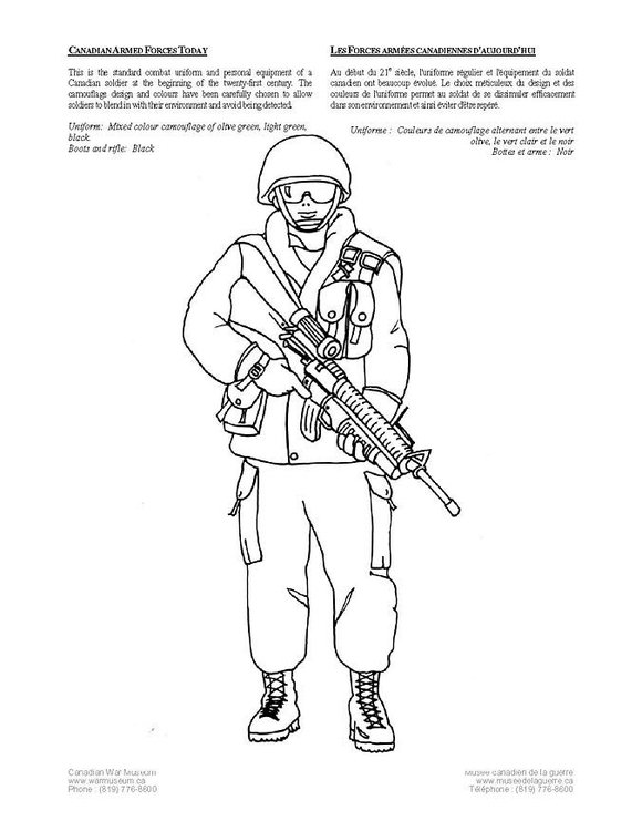 Coloring page canadian soldier today