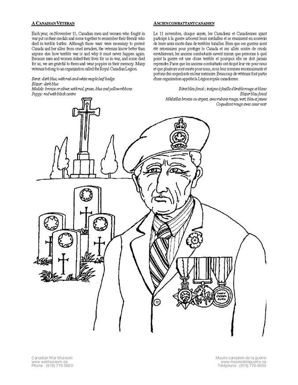 Coloring page canadian veteran