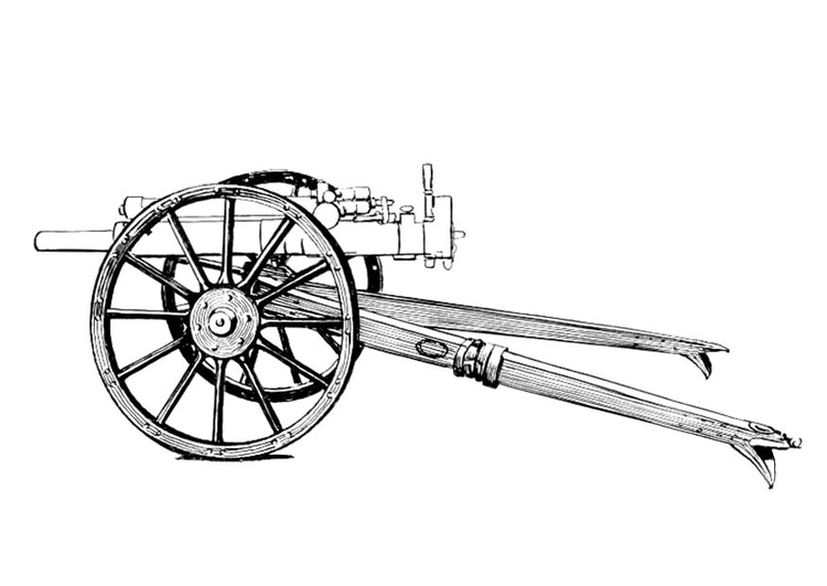 Coloring page cannon - carriage
