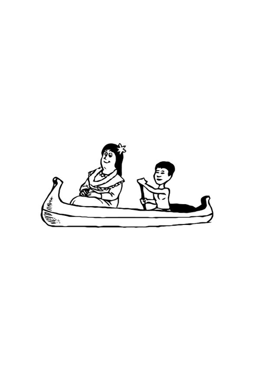 Coloring page canoe