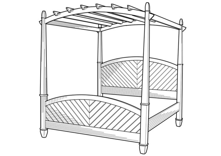 Coloring page canopy bed