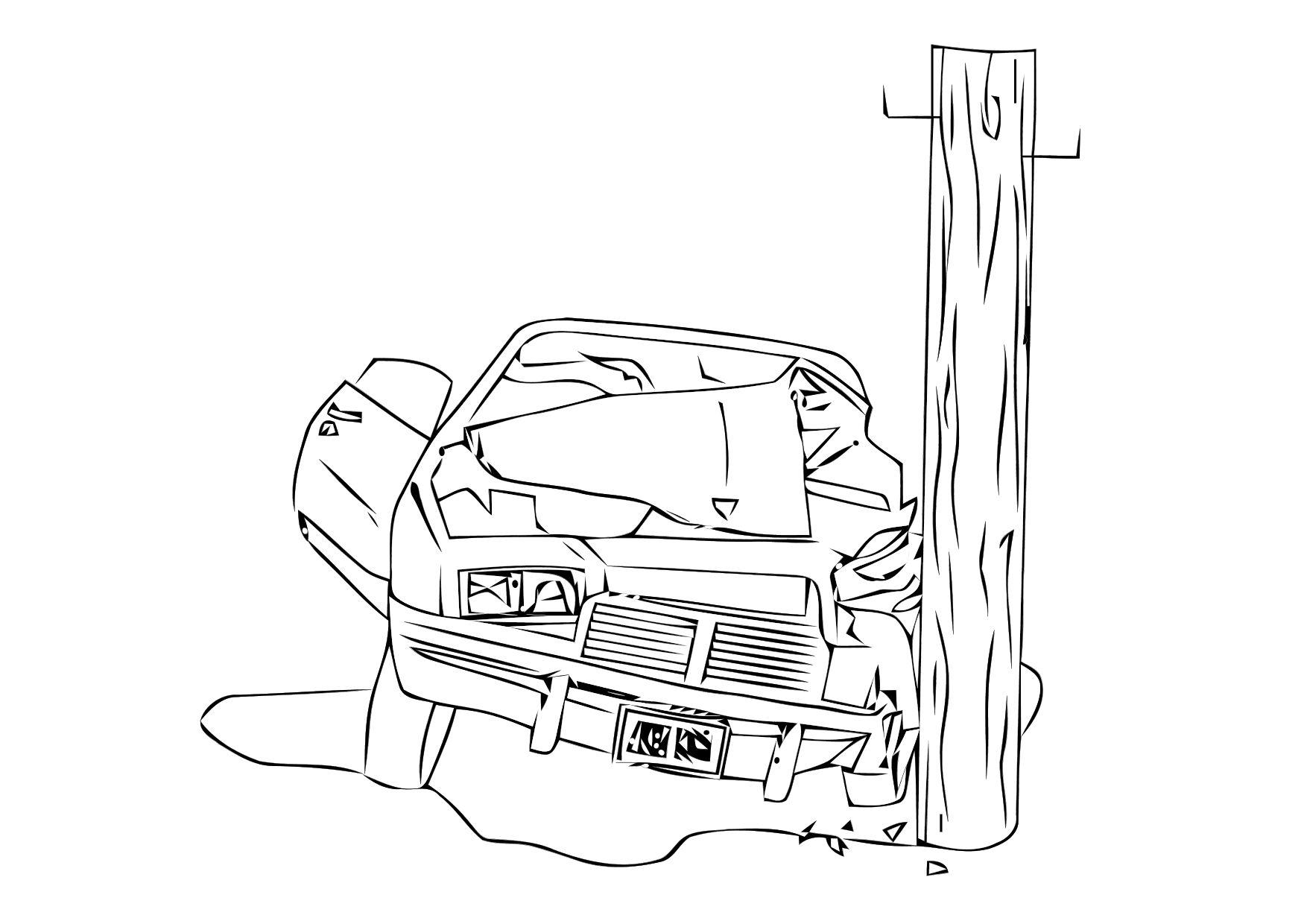 Colouring Pages Of Car Crash : Coloring page car crash img