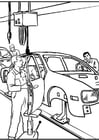 Coloring page car manufacturing