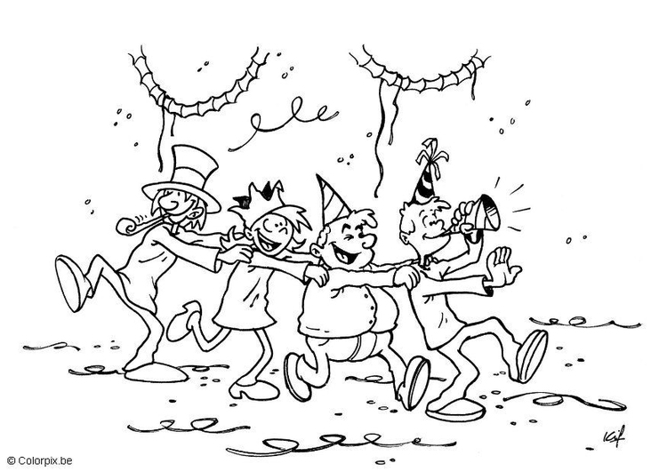 Coloring page carnival party