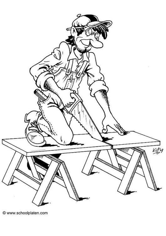 Coloring page carpenter