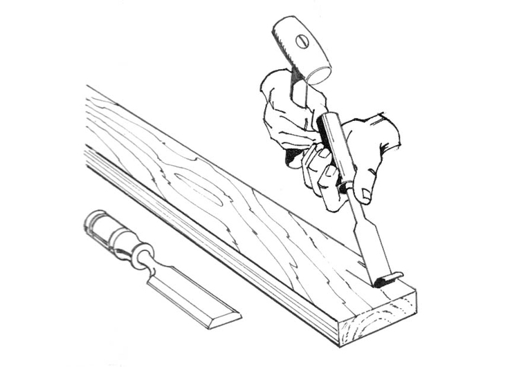Coloring page carpenter with chisel