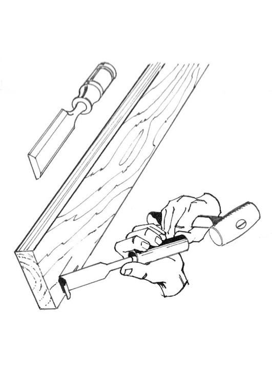 carpenter with chisel