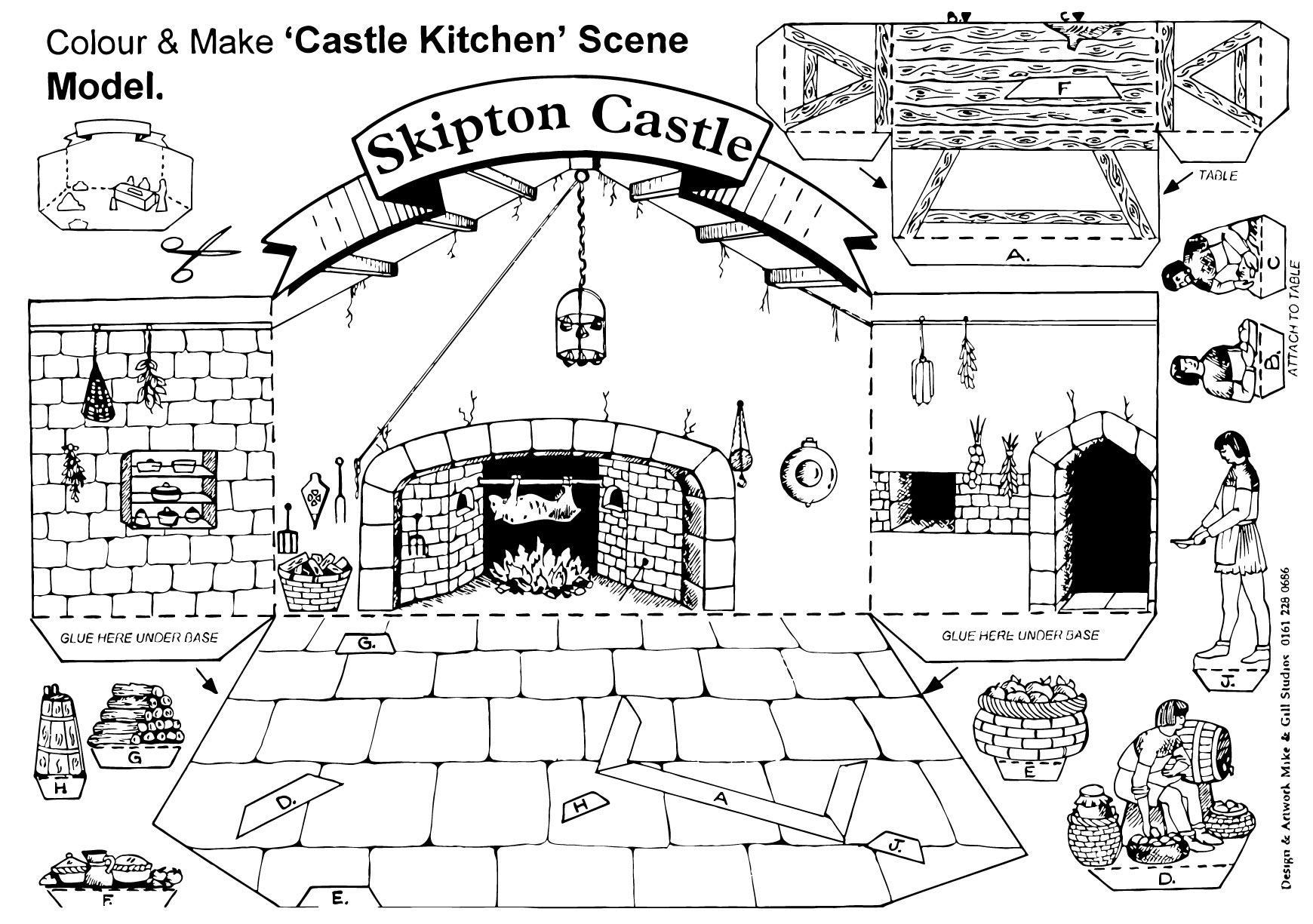 Kleurplaat Middeleeuwen Coloring Page Castle Kitchen Scene Img 14905
