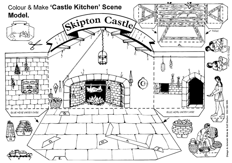 Coloring page Castle kitchen scene