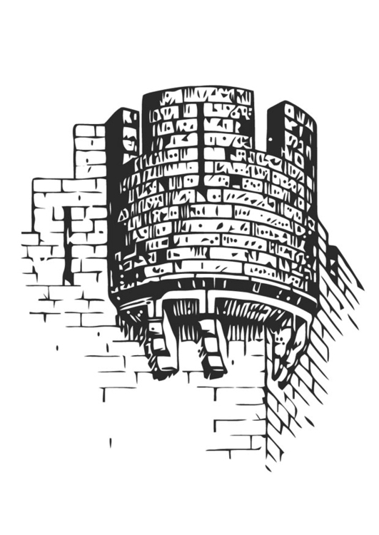 Coloring page castle tower