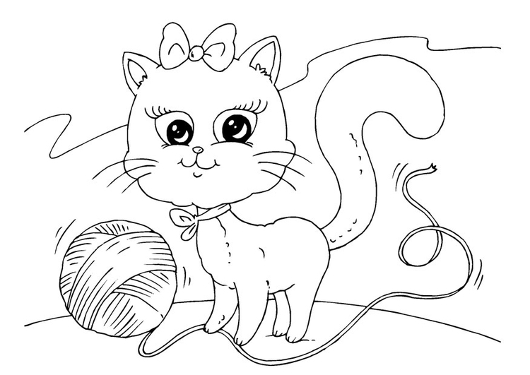 Coloring page cat and wool