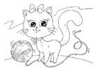 Coloring pages cat and wool