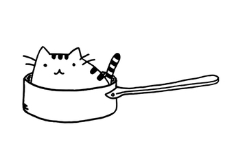 Coloring page cat in pan